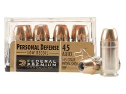 Federal Premium Personal Defense Reduced Recoil Ammunition 45 ACP 165 Grain Hydra-Shok Jacketed H...