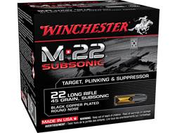 Winchester M-22 Subsonic Ammunition 22 Long Rifle 45 Grain Black Plated Lead Round Nose