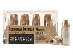 Federal Premium Personal Defense Reduced Recoil Ammunition 9mm Luger 135 Grain Hydra-Shok Jackete...