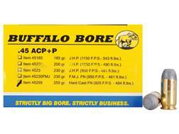 Buffalo Bore Ammunition Outdoorsman 45 ACP +P 255 Grain Hard Cast Lead Flat Nose Box of 20