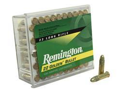 Remington Golden Bullet Ammunition 22 Long Rifle 40 Grain High Velocity Plated Lead Round Nose Bo...