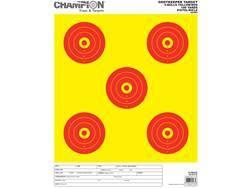 "Champion ShotKeeper 5 Large Bullseye Targets 14"" x 18"" Paper Yellow/ Red Bull Pack of 12"