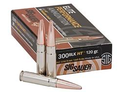 Sig Sauer Elite Performance Hunting HT Ammunition 300 AAC Blackout 120 Grain Solid Copper Lead Fr...