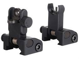 Yankee Hill Machine QDS Quick Deploy Flip up Front and Rear Sight Set Hooded AR-15 Flat-Top Alumi...
