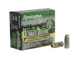 Remington Ultimate Defense Compact Handgun Ammunition 380 ACP 102 Grain Brass Jacketed Hollow Poi...