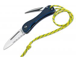 """Fox Knives Sailing Folding Knife 3"""" Serrated Drop Point 440C Stainless Steel Blade G-10 Handle Blue"""