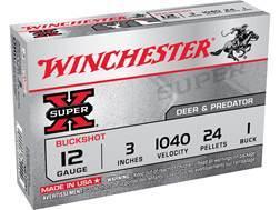 """Winchester Super-X Ammunition 12 Gauge 3"""" Buffered #1 Buckshot 24 Pellets Box of 5"""