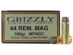 Grizzly Ammunition 44 Remington Magnum 300 Grain Cast Performance Lead Wide Flat Nose Gas Check B...