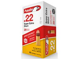 Aguila SuperExtra High Velocity Ammunition 22 Short 29 Grain Plated Lead Round Nose
