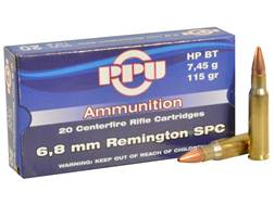 Prvi Partizan Ammunition 6.8mm Remington SPC 115 Grain Hollow Point Boat Tail Box of 20
