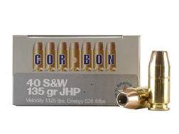 Cor-Bon Self-Defense Ammunition 40 S&W 135 Grain Jacketed Hollow Point Box of 20