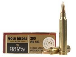 Federal Premium Gold Medal Ammunition 300 Winchester Magnum 190 Grain Sierra MatchKing Hollow Poi...