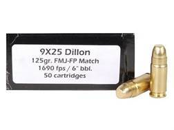 Doubletap Ammunition 9x25mm Dillon 125 Grain Full Metal Jacket Flat Point Box of 50