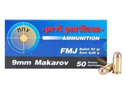 Prvi Partizan Ammunition 9x18mm (9mm Makarov) 93 Grain Full Metal Jacket Box of 50