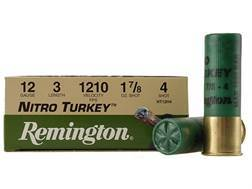 "Remington Nitro Turkey Ammunition 12 Gauge 3"" 1-7/8 oz of #4 Buffered Shot Box of 10"