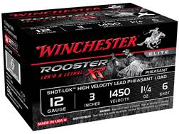 "Winchester Rooster XR Pheasant Ammunition 12 Gauge 3"" 1-1/4 oz #6 Shot-Lok Copper Plated Shot"