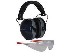 Champion Eyes and Ears Range Safety Kit Combo-Passive Earmuffs Ballistic Glasses (NRR 26dB) Black...