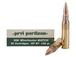 Prvi Partizan Match Ammunition 308 Winchester 168 Grain Hollow Point Boat Tail