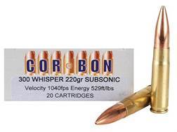 Cor-Bon Self-Defense Ammunition 300 Whisper Subsonic 220 Grain Jacketed Hollow Point Box of 20