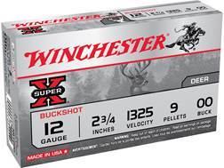 "Winchester Super-X Ammunition 12 Gauge 2-3/4"" Buffered 00 Buckshot 9 Pellets"