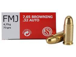 Sellier & Bellot Ammunition 32 ACP 73 Grain Full Metal Jacket Box of 50