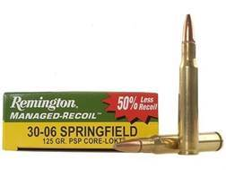 Remington Managed-Recoil Ammunition 30-06 Springfield 125 Grain Core-Lokt Pointed Soft Point Box ...