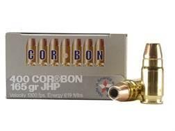 Cor-Bon Self-Defense Ammunition 400 Cor-Bon 165 Grain Jacketed Hollow Point Box of 20