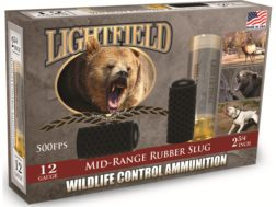 "Lightfield Wildlife Control Less Lethal Ammunition 12 Gauge 2-3/4"" Mid-Range Rubber Slug Box of 5"