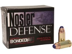 Nosler Defense Ammunition 9mm Luger +P 124 Grain Bonded Tipped Box of 20