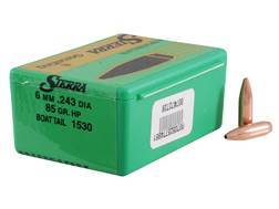 Sierra GameKing Bullets 243 Caliber, 6mm (243 Diameter) 85 Grain Hollow Point Boat Tail Box of 100