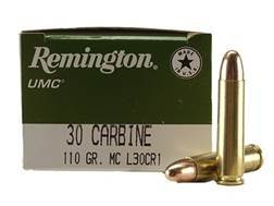 Remington UMC Ammunition 30 Carbine 110 Grain Full Metal Jacket Box of 50