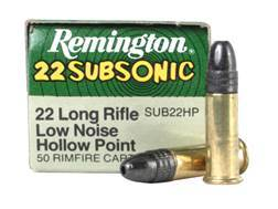 Remington Subsonic Ammunition 22 Long Rifle 38 Grain Lead Hollow Point Box of 100