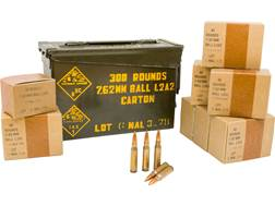 Military Surplus Ammunition 7.62x51mm 146 Grain Full Metal Jacket Berdan Primed Ammo Can of 300