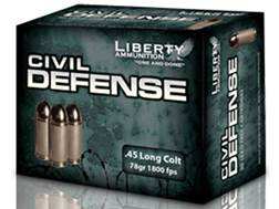 Liberty Civil Defense Ammunition 45 Colt (Long Colt) 78 Grain Fragmenting Hollow Point Lead-Free ...