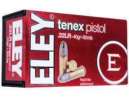 Eley Tenex Pistol Ammunition 22 Long Rifle 40 Grain Lead Round Nose