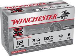 "Winchester Super-X Turkey Ammunition 12 Gauge 3"" 1-7/8 oz #6 Copper Plated Shot"