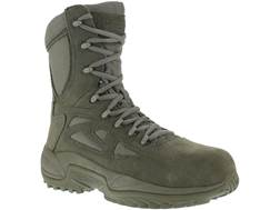 "Reebok Rapid Response 8"" Side-Zip Composite Safety Toe Tactical Boots Leather/Nylon"