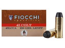 Fiocchi Cowboy Action Ammunition 45 Colt (Long Colt) 250 Grain Lead Round Nose Flat Point Box of 50