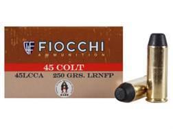 Fiocchi Cowboy Action Ammunition 45 Colt (Long Colt) 250 Grain Lead Round Nose Flat Point Box of 50