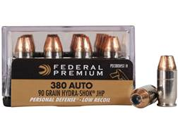 Federal Premium Personal Defense Reduced Recoil Ammunition 380 ACP 90 Grain Hydra-Shok Jacketed H...