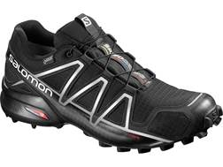 "Salomon Speedcross 4 GTX 4"" Trail Running Shoes Synthetic Black/Silver Metallic-X Men's"