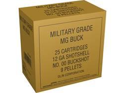 """Winchester Military Grade Ammunition 12 Gauge 2-3/4"""" Buffered 00 Buckshot 9 Pellets"""