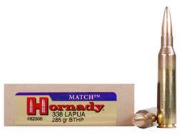 Hornady Match Ammunition 338 Lapua Magnum 285 Grain Hollow Point Boat Tail Box of 20