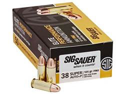 Sig Sauer Elite Performance Ammunition 38 Super +P 125 Grain Full Metal Jacket Box of 50