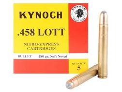 Kynoch Ammunition 458 Lott 480 Grain Woodleigh Weldcore Soft Point Box of 5