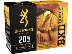 "Browning BXD Extra Distance Turkey Ammunition 20 Gauge 3"" 1-1/4 oz #5 Nickel Plated Shot"