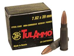 TulAmmo Ammunition 7.62x39mm 122 Grain Jacketed Hollow Point (Bi-Metal) Steel Case Berdan Primed ...