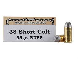 Ten-X Cowboy Ammunition 38 Short Colt 95 Grain Lead Round Nose Flat Point Box of 50