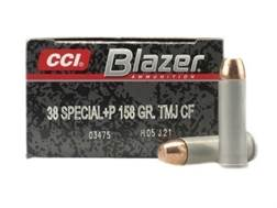 Blazer Clean-Fire Ammunition 38 Special +P 158 Grain Total Metal Jacket Box of 50