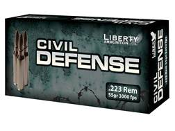 Liberty Civil Defense Ammunition 223 Remington 55 Grain Fragmenting Hollow Point Lead-Free Box of 20